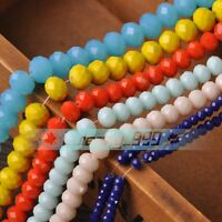 500x Wholesale Opaque Rondelle Faceted Glass Loose Spacer Beads 3/4/6/8/10/12mm