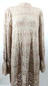 Free People Women's Simone Mini Lace Tunic/Dress Long Sleeve Mock Neck Size L