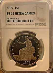 1877 T$1 Trade Dollar PR65 Ultra Cameo NGC - PF65UC Ultra Rare NGC Value $18,000