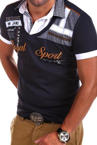 G.B.D 2in1 Poloshirt mit Hemd-Einsatz Kurzarm T-Shirt Schwarz//Weiß//Blau//Rot NEU