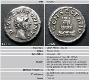 160 Ad Historique Antonius Pius Silver Denarius Posthume Question Lcgs 30 Ric-afficher Le Titre D'origine