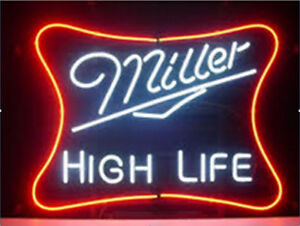 New miller high life beer bar lamp neon light sign 19x15 ebay image is loading new miller high life beer bar lamp neon aloadofball Images