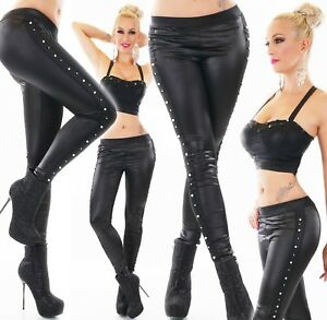 Womens-Leather-Leggings-Full-Length-Pants-Latex-Wet-Look-Perls-skinny-Treggings