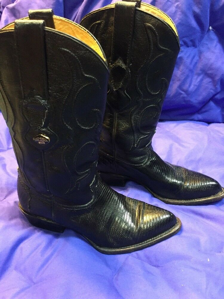 Women's Women's Women's Los Altos Boots Genuine Armadillo And Lizard Size 8M 25 Black EUC ae7cc4