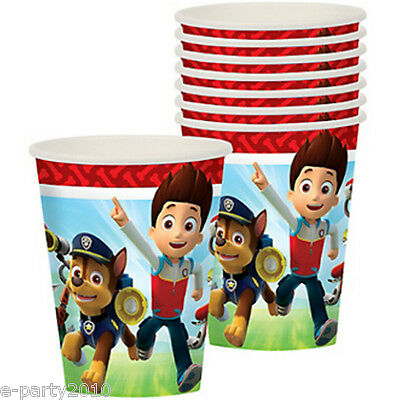 PAW PATROL 9oz PAPER CUPS (8) ~ Birthday Party Supplies Beverage Drinking Red