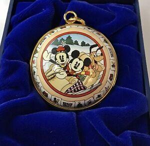 RARE-Limited-Disney-Halcyon-Days-Enamel-Christmas-Ornament-Mickey-Minnie-England