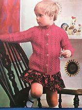 "Knitting Pattern Bambini Bambina Cardigan Cavo dettaglio DK 22-24"" vintage"