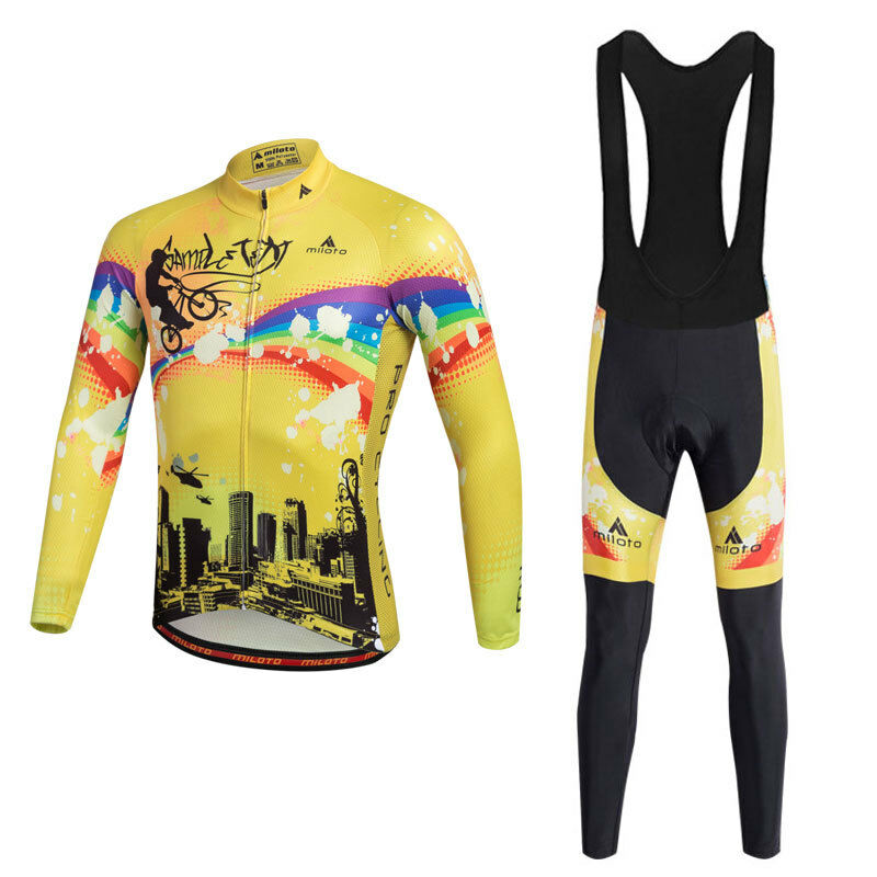 Men's Cycling Clothes Long Sleeve  Cycle Jersey and Padded (Bib) Pants Tight Kit  authentic online