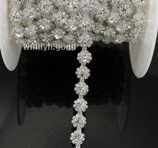 5 Yards Rhinestone Crystal Silver Fashion Bridal Costume Applique Sewing Trims