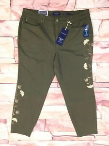 New-CHARTER-CLUB-Plus-Size-Olive-Twill-5-Pocket-Skinny-Ankle-Jeans-Embroidered