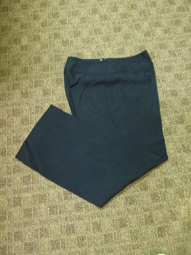 AKRIS Dark Navy Blau Side Zip Solid Flat Front Career Slacks Pants Sz 10 GG6930