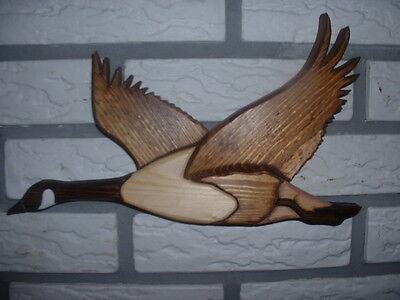 "#39 Handmade wood intarsia goose approx 11"" x H 6"""
