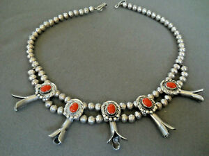Fabulous Vintage Navajo Red Coral Native American Sterling Silver Necklace Old