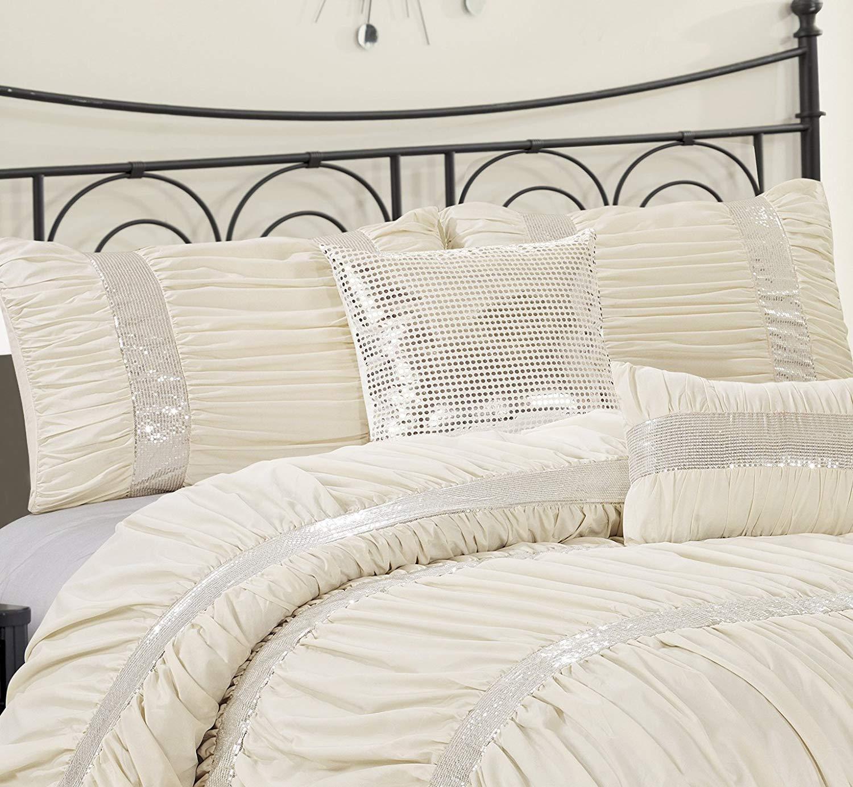 CK Size 7 Piece CLARAITA Chic Ruched Pleated Gold Comforter Set in Q K