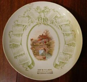 Antique-1910-CALENDAR-PLATE-WATERVILLE-KANSAS-NATIONAL-CHINA-CO-WESTERN-GEM