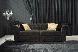 Chesterfield-Couch-Pads-Sofas-Classic-Leather-Textile-Sofa-3-Seat-New-291