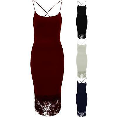 Ladies Lace Mesh Hem Textured Midi Pencil Women's Cross Back Bodycon Dress