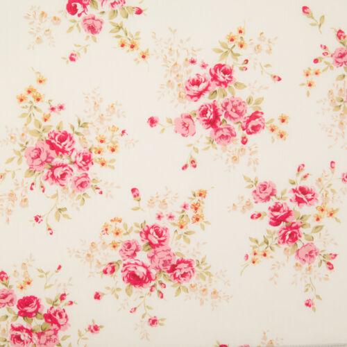 100/% Cotton Poplin Fabric VINTAGE PINK ROSE FLORAL BOUQUET CREAM Rose /& Hubble