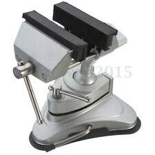 360 Rotates Table Top Bench Vice Vise Tilts Adjustable Clamp Rubber Suction Base