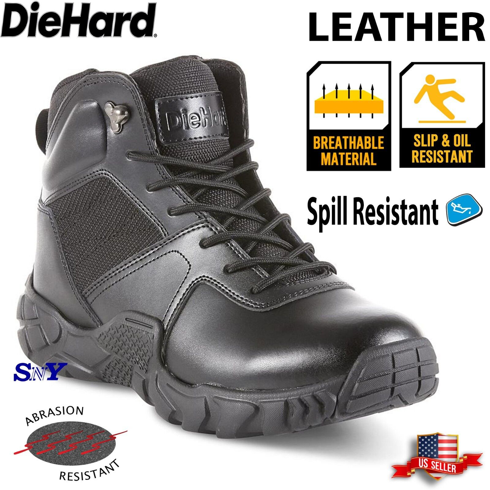 6  Leather Soft Toe Safety Tactical Boot Work Boots Spill Slip Resistant dh