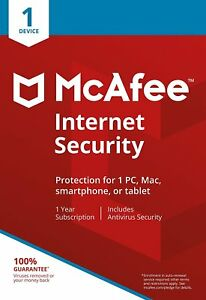 McAfee Internet Security 2018/2019 1 Year 1 User PC Anti Virus Software RRP £20