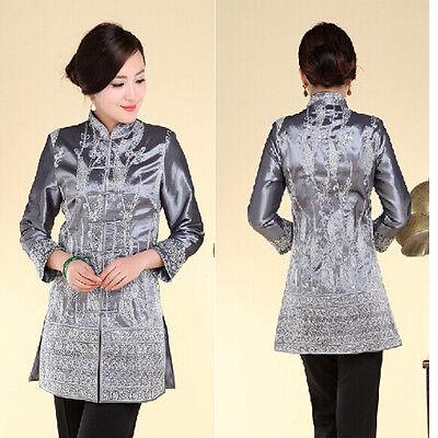gray Chinese Tradition Women/'s silk//satin evening coat Jacket s-3xl