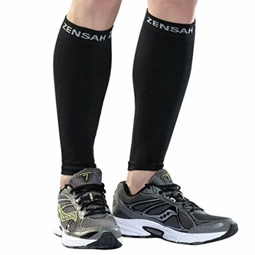 Pair Zensah Leg Sleeves Shin Splint Running Compression Calf Sleeves Black