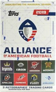 2019-TOPPS-ALLIANCE-OF-AMERICAN-FOOTBALL-Sealed-HOBBY-BOX-NFL-cards