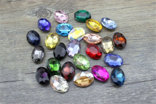 50pcs 6x8mm oval rhinestone nail art crystal bead point back cut glass diy