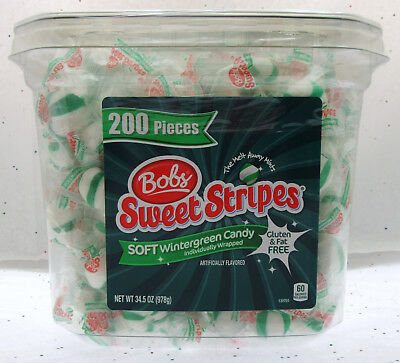Home & Garden Adroit Bob's Sweet Stripes ~ Soft Wintergreen Candy Candies ~ 34.5 Oz Container Jade White