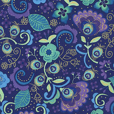Fabric Violet Peacock Feather Floral w/Metallic CM4082-VLT Timeless Treasures