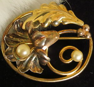 12k Gold filled Ornate flower brooch faux pearls marked P with Palm Tree 7.1g