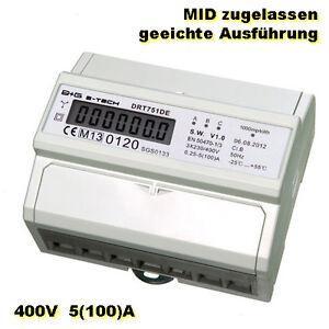 LCD-Drehstromzaehler-Stromzaehler-MID-geeicht-mit-S0-fuer-Hutschiene-3x5-100-A-400V