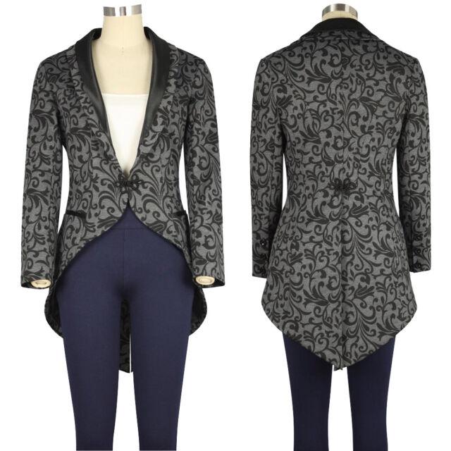 Chic Star Black Victorian Steampunk Tailcoat Tuxedo Style Jacket UK Size 6 to 28
