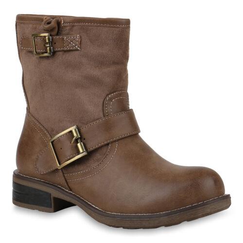 Damen Biker Boots Stiefeletten Stiefel Schnallen Modische 818487 Schuhe