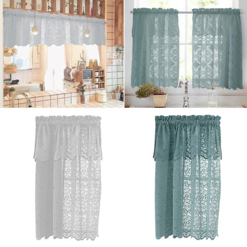 1 Panel Embroidered Lace Kitchen Bedroom Tier Curtains Window Voile Sheers