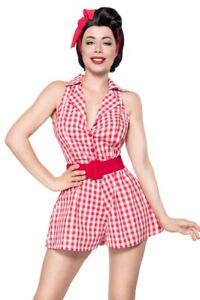 cheaper b5b17 f1820 Dettagli su Tuta Retro Jumpsuit donna rosso bianco uy 50072 abbigliamento  pin up stile new