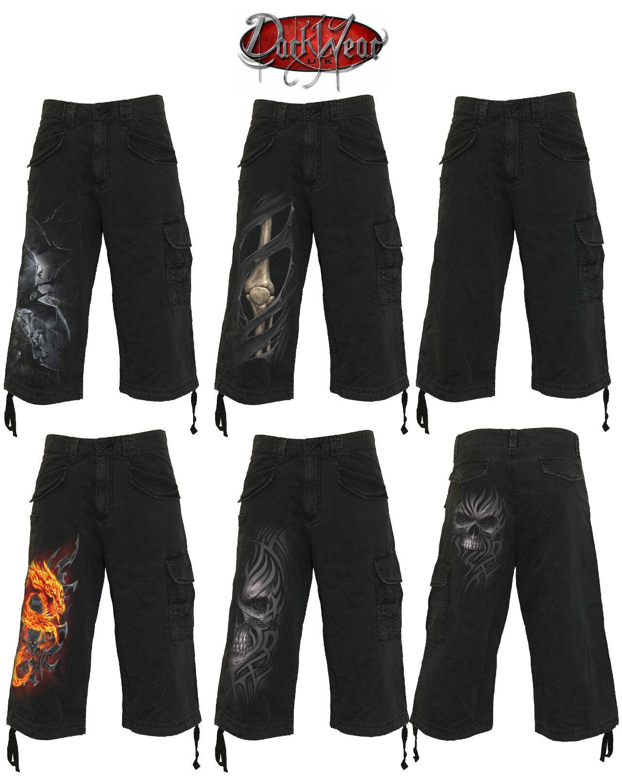 Spiral Direct Vintage Cargo Shorts 3 4 Lange black Schädel Skelett Drachen