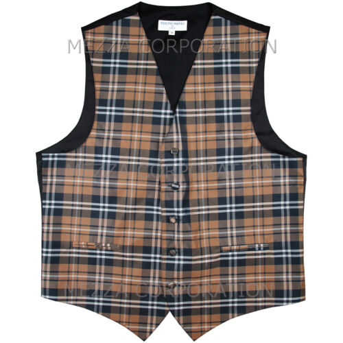 New Men/'s Plaid Tuxedo Vest Waistcoat only Plaid checkers Brown Wedding formal