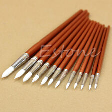 12pc Fine Red Pearl Wooden Paint Acrylic Watercolor Oil Painting Artists Brushes