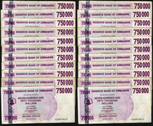 20 x 750,000 Zimbabwe Dollars Banknotes World Currency Paper Money Bundle 20PCS