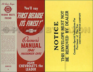 1941 Chevrolet Passenger Cars Owners Operators Manual 41 Chevy ...
