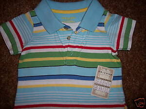NWT-Arizona-Jeans-Polo-S-S-Stripe-Shirt-Top-3-6M-NEW
