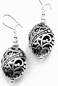 ANTIQUE SILVER FILIGREE OVAL DROP EARRINGS EXCELLENT QUALITY ORGANZA GIFT - Neath, Neath Port Talbot, United Kingdom - ANTIQUE SILVER FILIGREE OVAL DROP EARRINGS EXCELLENT QUALITY ORGANZA GIFT - Neath, Neath Port Talbot, United Kingdom