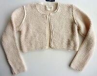 Zara Girls Cream 1960s Chiffon Trim Knitted Short Cardigan Top 4-5y £19.99