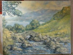 LARGE-OIL-PAINTING-LANDSCAPE-LAKE-DISTRICT-LISTED-ARTIST-PHYLLIS-MORGANS-SIGNED