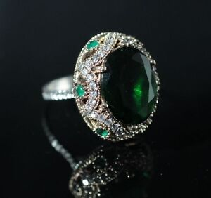 925-Sterling-Silver-Handmade-Antique-Turkish-Emerald-Ladies-Ring-Size-6-10