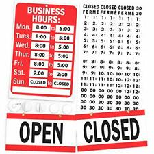Open Closed Sign Business Hours Sign Kit Bright Red And White Colors