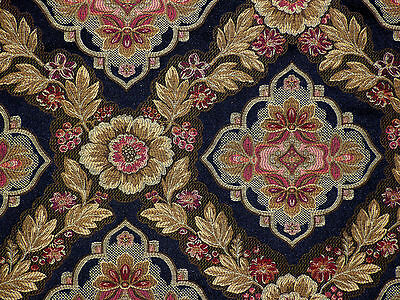 Formal BLACK Beige Pink Shades Gold Floral Upholstery Weight 1st Quality Fabric