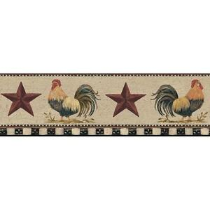 Wallpaper-Border-Country-Roosters-Red-Stars-on-Cream-Crackle-Black-amp-Cream-Check